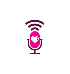 Love podcast logo icon design vector
