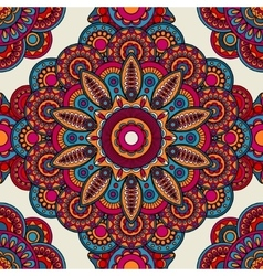 Mandala doodle colored seamless pattern vector image vector image