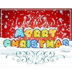 Merry christmas hand-lettering text on snowy vector