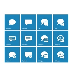 Message bubble icons on blue background vector image