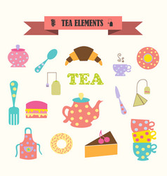 Multicolored icons with tape on topic tea vector