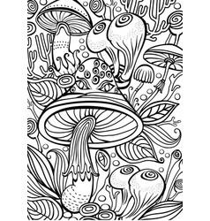mushrooms coloring antistress book page vector image