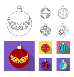 new year toys outlineflat icons in set collection vector image
