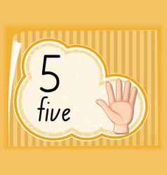 Number five hand gesture vector