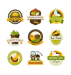 Organic Food Farm Emblems vector