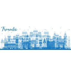 Outline Karachi Skyline with Blue Landmarks vector