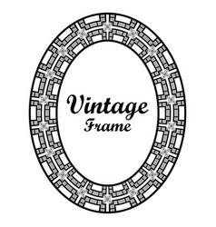 oval ornamental art deco frame vector image