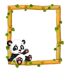 Panda on the wood frame with roots and leaf vector