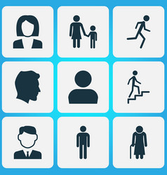 people icons set collection of gentleman family vector image