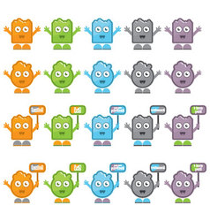 Playful character icons vector