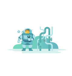 Plumber man in diving dress wet suit came to vector