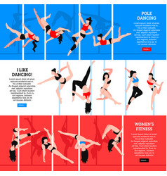 Pole dance horizontal banners vector