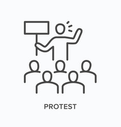 protest flat line icon outline vector image