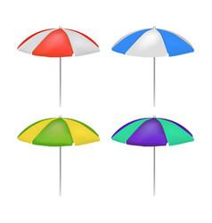 realistic detailed 3d umbrella beach set vector image