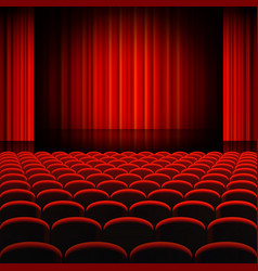Red curtains theater stage vector