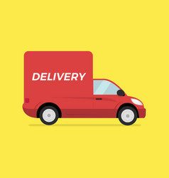 red delivery truck concept fast trucking vector image