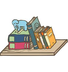 Row of books on shelf vector