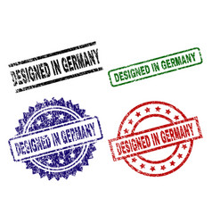 scratched textured designed in germany stamp seals vector image
