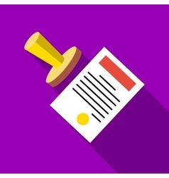 Seal to document icon flat style vector