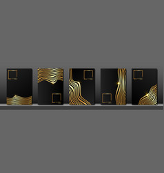 set cover for text abstract gold striped line vector image