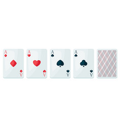 set four aces playing cards suit vector image