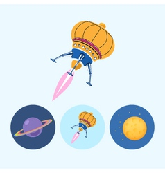 Set icons with saturn spaceship moon vector image