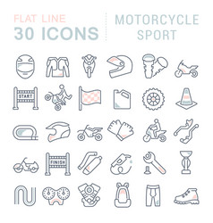 Set line icons motorcycle sport vector