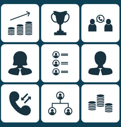 set of 9 management icons includes cellular data vector image