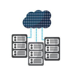 set of data base server cloud connect binary vector image