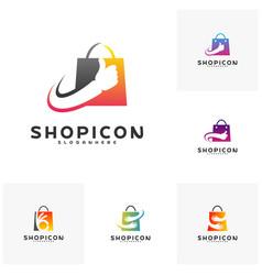 set of good shop logo template design great shop vector image