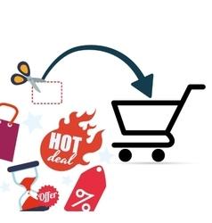 Shopping market shop store icon set vector