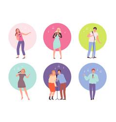 Singing characters adult people in karaoke club vector