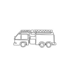 single continuous line drawing firetruck vector image