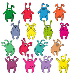 sixteen thick funny rabbits vector image