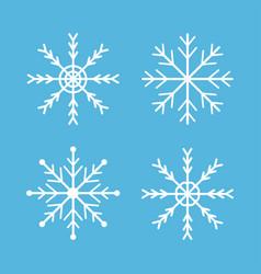 snowflakes icon set four white snowflake merry vector image