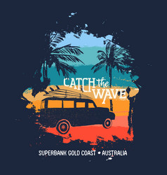 summer surf vacation in australian gold coast vector image