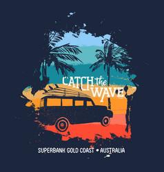 Summer surf vacation in australian gold coast vector
