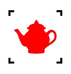 tea maker sign red icon inside black vector image