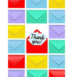 Thank you note envelopes vector