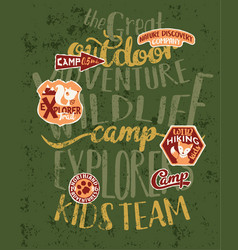 the great outdoor wildlife kids camp vector image
