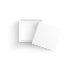 top view of empty open white paper box in vector image