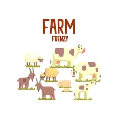 Toy Farm Animals Cute Sticker vector image