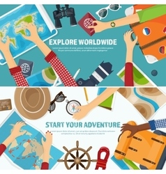 Travel and tourism Flat style World earth map vector image