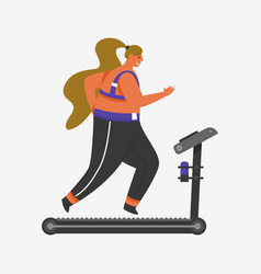treadmill for fitness girl plus size health vector image