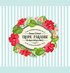 Tropical flower frame with place for invitation vector