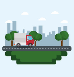 Truck and city icon vector