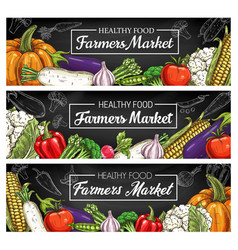 vegetables farm market food banners food veggies vector image