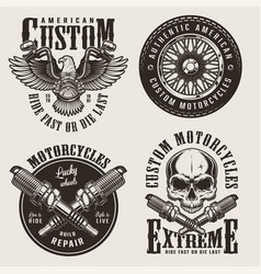 Vintage custom motorcycle badges set vector