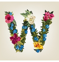 W letterFlower capital alphabet Colorful font vector