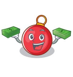 With money christmas ball character cartoon vector